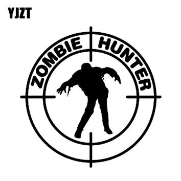 YJZT 15*15CM Interesting ZOMBIE Hunter Motorcycle Car Sticker Decal Black/Silver Vinyl S8-1235