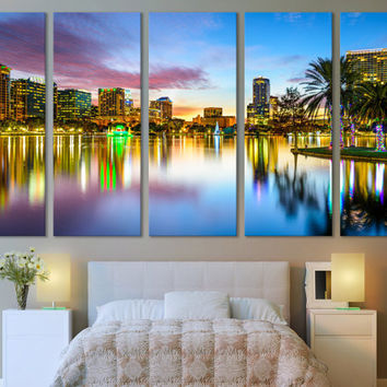 Orlando Canvas Print Skyline Wall Art / Modern Canvas Print Wall Art Photography Hanging for Office & Home Decoration Fine Art Canvas Print