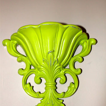Lime Green Wall Pocket Sconce by AquaXpressions on Etsy