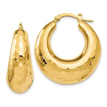 10mm x 25mm (1 In) 14k Yellow Gold Hammered Creole Round Hoop Earrings