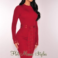 Cranberry Ribbed Knit Grommet Belted Dress