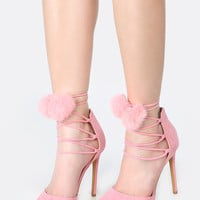 Pointy Toe Lace Up Pom Pom Heels PINK | MakeMeChic.COM