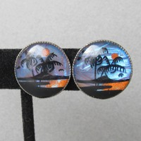Vintage Palm Trees Tropical Scene Real Butterfly Wing Earrings