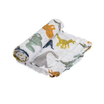 LITTLE UNICORN COTTON MUSLIN SWADDLE IN DINO FRIENDS