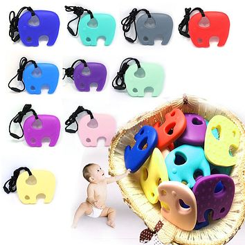 New 1Pc Silicone Elephant Teething Pacifier Pendant Toy Soother Teether for Baby Kids Chew Toy Baby Teething Pendant BPA FREE