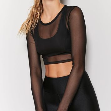 Active Sheer Mesh Crop Top - Women - Activewear - 2000200900 - Forever 21 Canada English