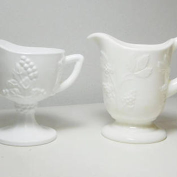 White Milk Glass Gravy Creamer Syrup Pitcher Grapevine Design Paneled Footed Pedestal Vintage Cottage Farmhouse Decor