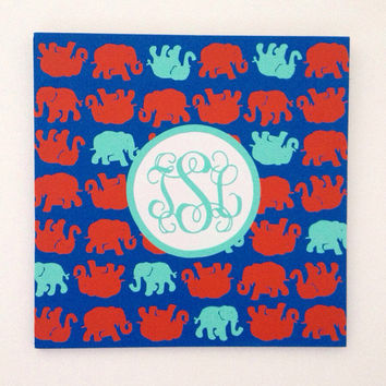 Lilly Pulitzer tusk in sun inspired elephant print monogram sign wall art