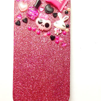 Kawaii Decoden Iphone 5 Case//Iphone 5S//Glitter Case//Cabochons