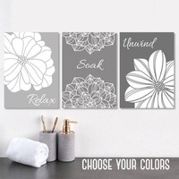 Gray BATHROOM Wall Art, Bathroom Canvas or Prints, Gray Ombre Bathroom Wall Decor, Bathroom Quote Pictures, Relax Soak Unwind, Set of 3