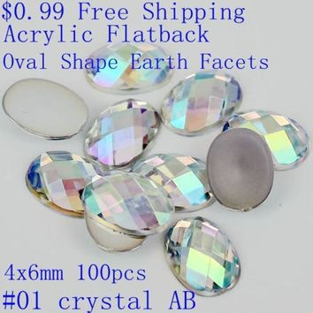 100pcs 4x6mm Colorful Acrylic Falt Back Oval Shape Earth Facets Ab Colors Beads Nail Art Decorate Diy