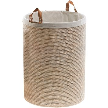BASKET SPA Malacca Single Round Spa Hamper Laundry Basket with Handles - Rattan