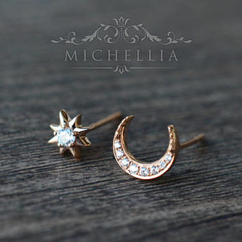 Diamond Moon and Star Earrings, Galaxy Inspired Mismatched Ear Stud, Available in 14K or 18K Solid Gold and Platinum, E3006
