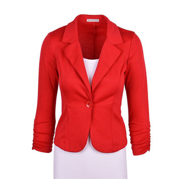 2016 Spring Women Slim Blazer Coat Hot Fashion Elegant Jacket One Button Brand Ladies Blazers Work Wear Casaco Feminino Clothes