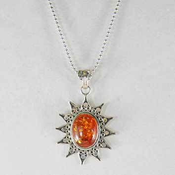 Sunburst Sterling Silver Pendant Necklace with Amber