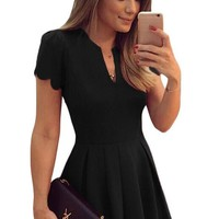 Black Sweet Scallop Short Sleeve Pleated Skater Dress