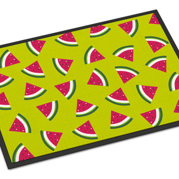 Watermelon on Lime Green Indoor or Outdoor Mat 18x27 BB5151MAT