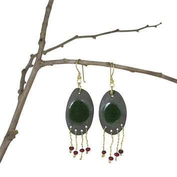Handmade; Oval Metal Fringe Nerikomi Earrings; Olive