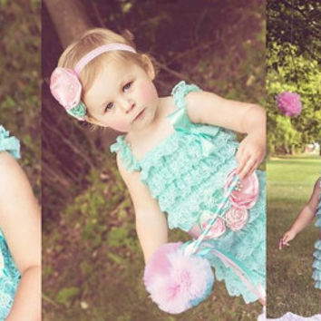 Sash for Lace Petti Ruffle Romper - Hair Accessory - Toddler Photo Prop - Pink and Green Sash - Flower Girl - Sash for Girl Lace Romper