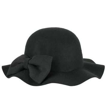 winter Spring 100% Pure Super warmth bow truly Wool black Hat Cloth Wave Basin Fisherman Felt Hat Contracted Ms Wave edge hats