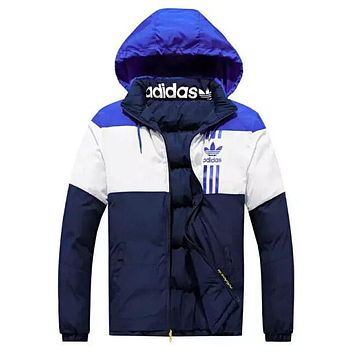 ADIDAS Winter Trending Women Men Embroidery Print Warm Hoodie Zipper Cardigan Jacket Coat(Two Side Wear Reversible) Blue