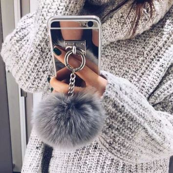 Silver Luxury Metal Rope TPU Mirror Tassel phone Capa fake rabbit fur ball For Phone 7 7Plus 6 6S 6plus Back Cover Case Gift