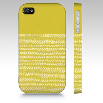 Yellow and White iPhone 5s case, iPhone 5c case, iphone 4s case, color block yellow mustard dots, device case, artist designed phone case