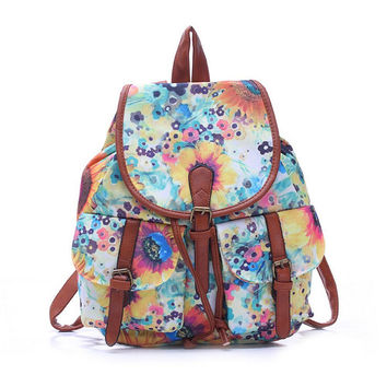 Women's Large Canvas Floral Daypack Backpack Travel Bag