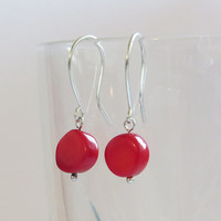 Silver Earrings with Red Coral stones - Everyday Jewelry - Simple Handmade Jewelry