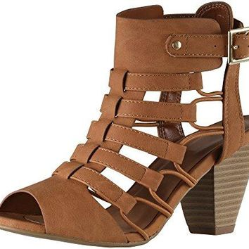 Cambridge Select Womens Open Toe Gladiator Caged Cutout Buckled Ankle Strap Chunky Tapered Heel Ankle Bootie