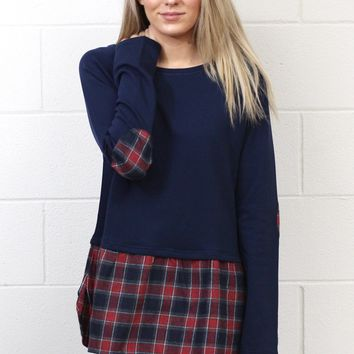 Plaid Peplum + Elbow Patch Block Long Sleeve {Navy}