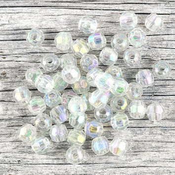 Clear Faceted Loose Round Acrylic Beads 12x7mm - Jewellery Crafts Gift Wrapping Party Favors Party Supplies Weddings - 30 pcs