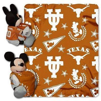 "TEXAS LONGHORNS 40""X50"" DISNEY MICKEY MOUSE HUGGER PILLOW & THROW BLANKET SET"