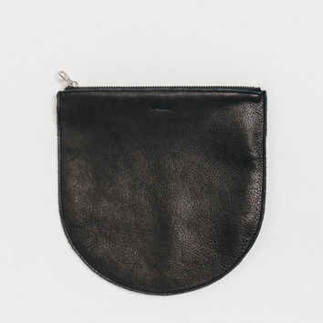 Large Leather Pocket Pouch Black