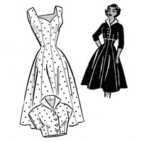 1950s Dress Pattern Anne Adams 4543 Mail Order Bust 30 Fit and Flare Princess Seam Sweetheart Neckline Bolero Womens Vintage Sewing Pattern