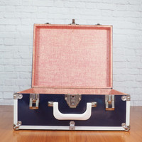 Vintage 1950s Roller Skate Case with Key, Navy Blue and White Metal Case, Small Metal Trunk, Stanley Caseworks USA