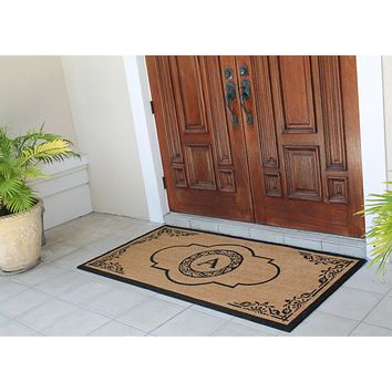 Hand Crafted X-Large Abrilina Entry Coir Monogrammed Double Doormat