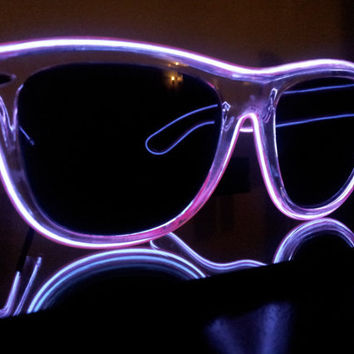 Light up rave glasses, sunglasses with lights, Moxie Glares