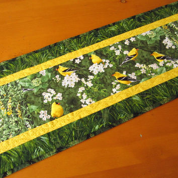 Handmade Quilted Table Runner Yellow Birds
