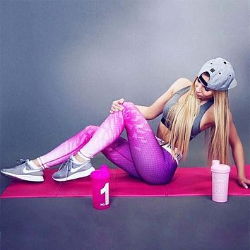 Women's Fashion Pink Print Sports Yoga Pants Leggings [10182759367]