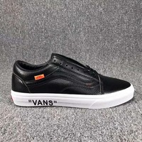 VANS Classic Leather Old Skool Flats Shoes Sneakers Sport Shoes Black I-CSXY