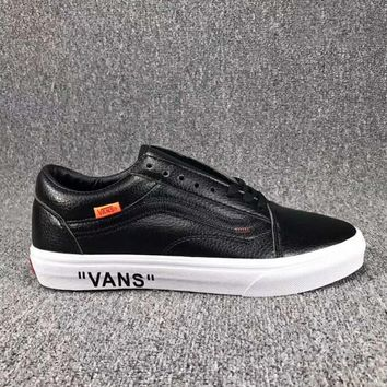 VANS Classic Leather Old Skool Flats Shoes Sneakers Sport Shoes Black I-CSXY 2d1665782f