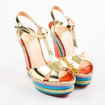 DCCK Christian Louboutin Metallic  Trotolita 140  Espadrille Wedge Sandals