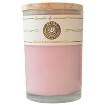 LAVENDER & ROSEWOOD MASSAGE & AROMATHERAPY SOY CANDLE 12 OZ TUMBLER. A BALANCING & CALMING BLEND WITH LEPIDOLITE GEMSTONE. BURNS APPROX. 30+ HOURS UNISEX
