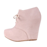 Bamboo Debrah 01 Nude Wedge Boot