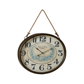 Parisian Time Wall Clock with Rope Hanger