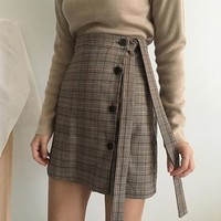 Button Accent Self Tie Plaid Skirt (2 colours)