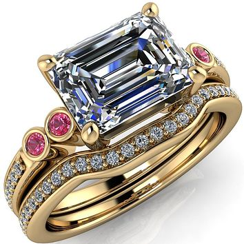 Philippa Emerald Moissanite 4 Pink Sapphire Sides 4 Prong Under Bezel Multi Stone Engagement Ring