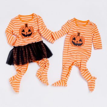 Halloween Pumpkin Baby Rompers Cotton Warm Newborn Twins Clothes Fall Long Sleeve Toddler Clothing for Boy Girl Baby