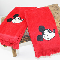 Vintage Mickey Mouse Red Hand Towels, Pair of Mickey Hand Towels